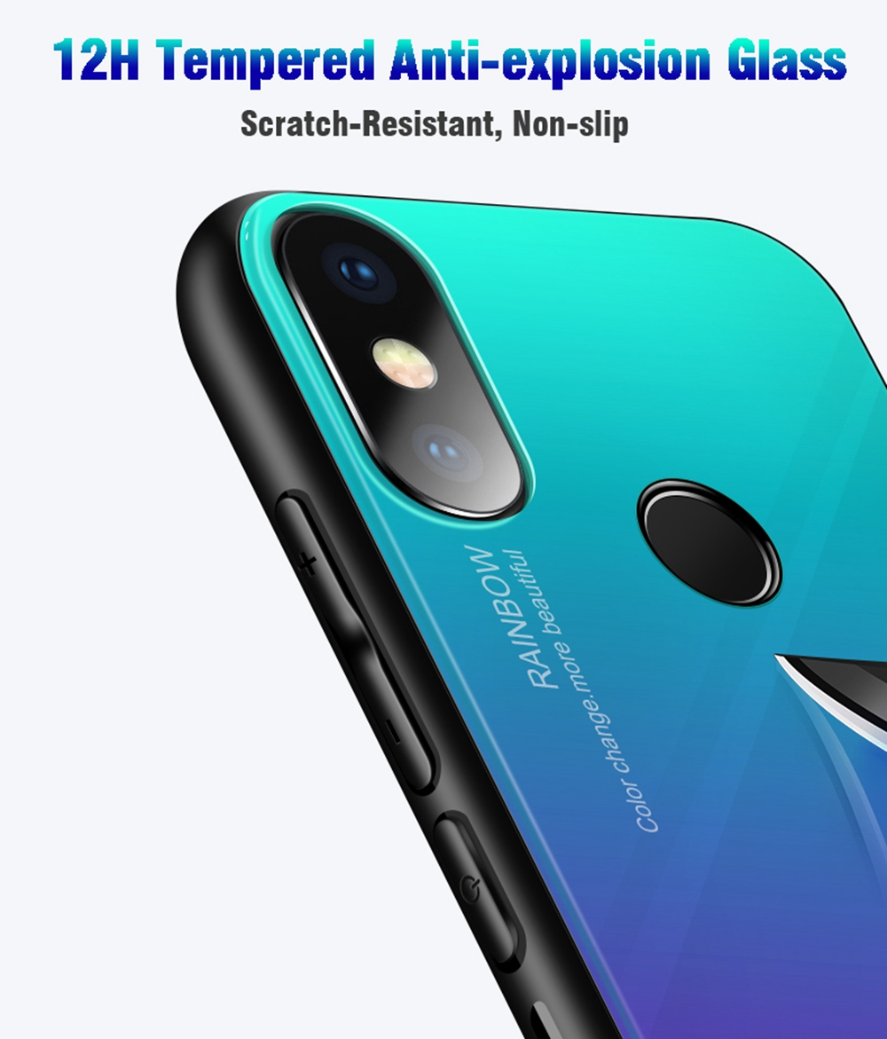 Bakeey Luxury Gradient Colorful Tempered Glass Anti-Scatch Protective Case For Xiaomi Mi8 6.21 Inch