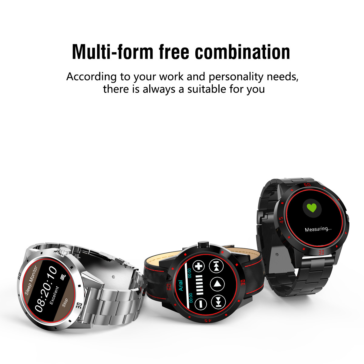 Newwear N6 1.3inch All Stainless Steel HR Sleep Monitor Fitness Tracker Sports Smart Watch For Android IOS