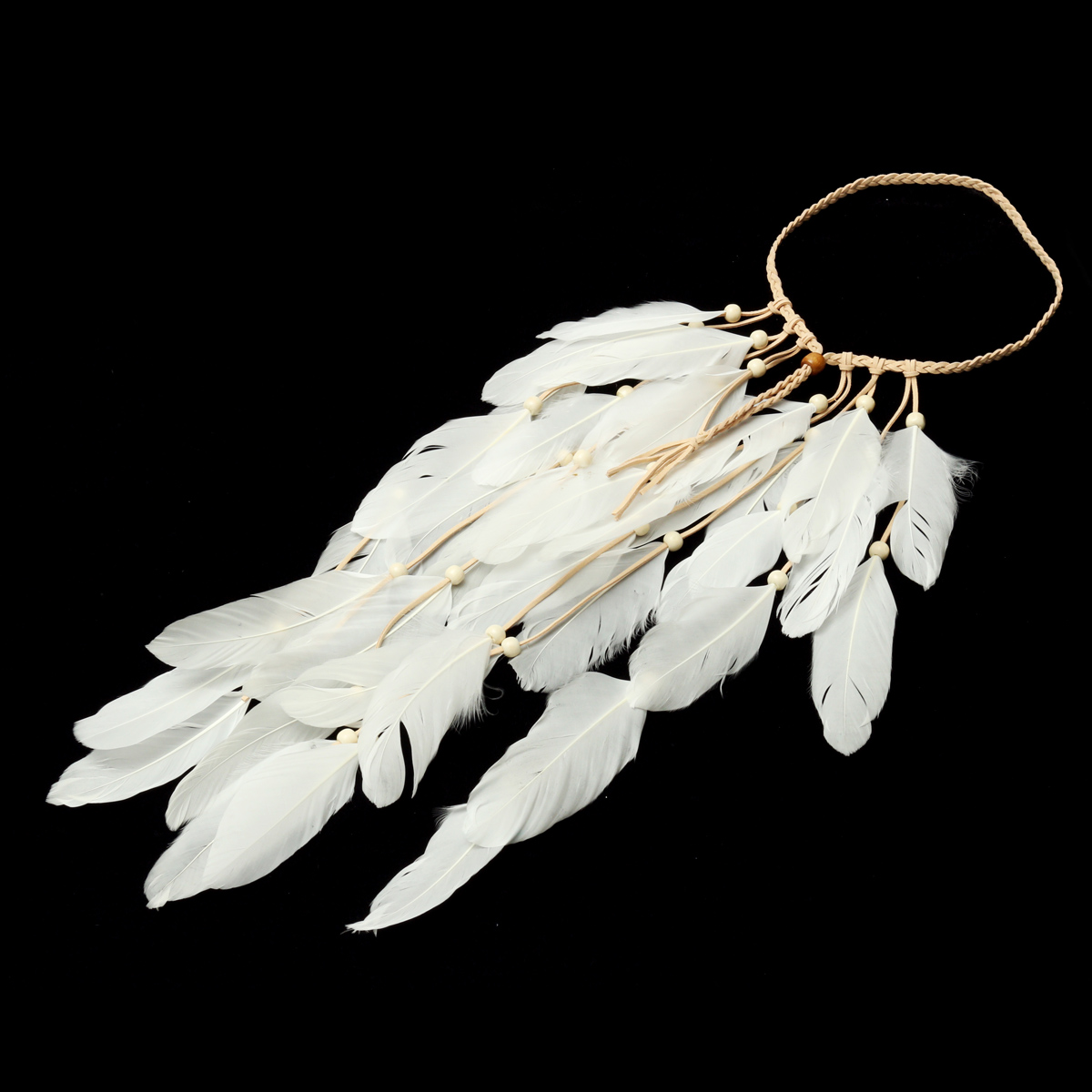 Feather Weave Women Headbrand Bohemian Indian Style Boho Gypsy Bridal Hair Ornaments Rope Accessory