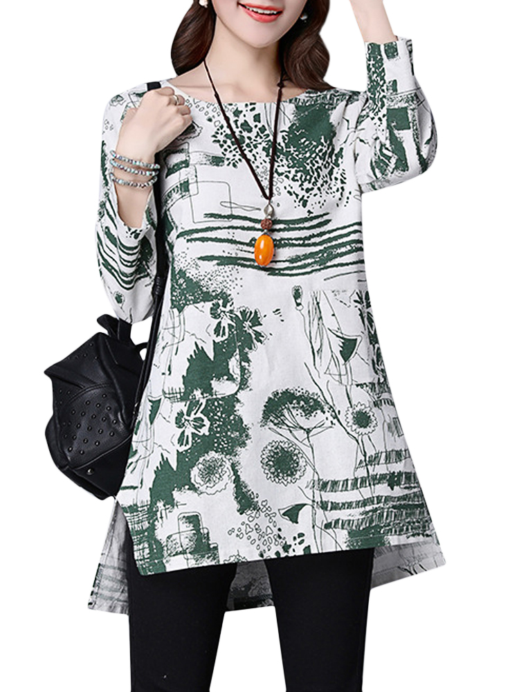 Vintage Women Printing O-Neck Long Sleeve Loose Blouse