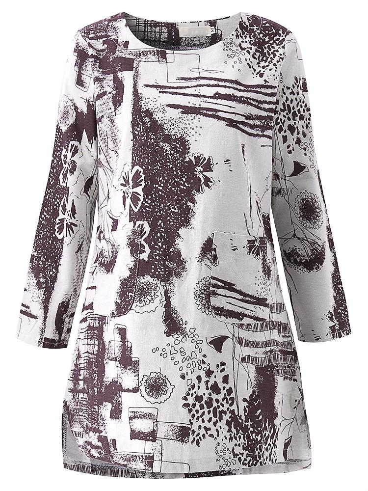 Vintage Women Printing O-Neck Long Sleeve Loose Blouse