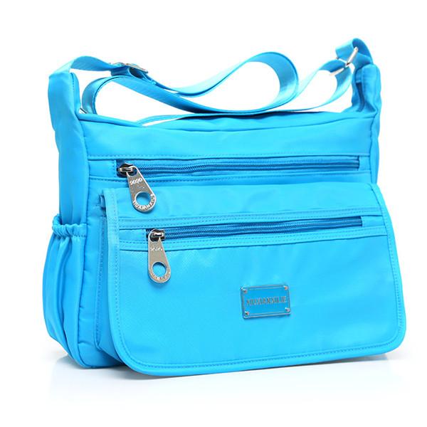 Multilayer Zipper-pockets Light Weight Shoulder Bag Waterproof Crossbody Bags Messenger Bags