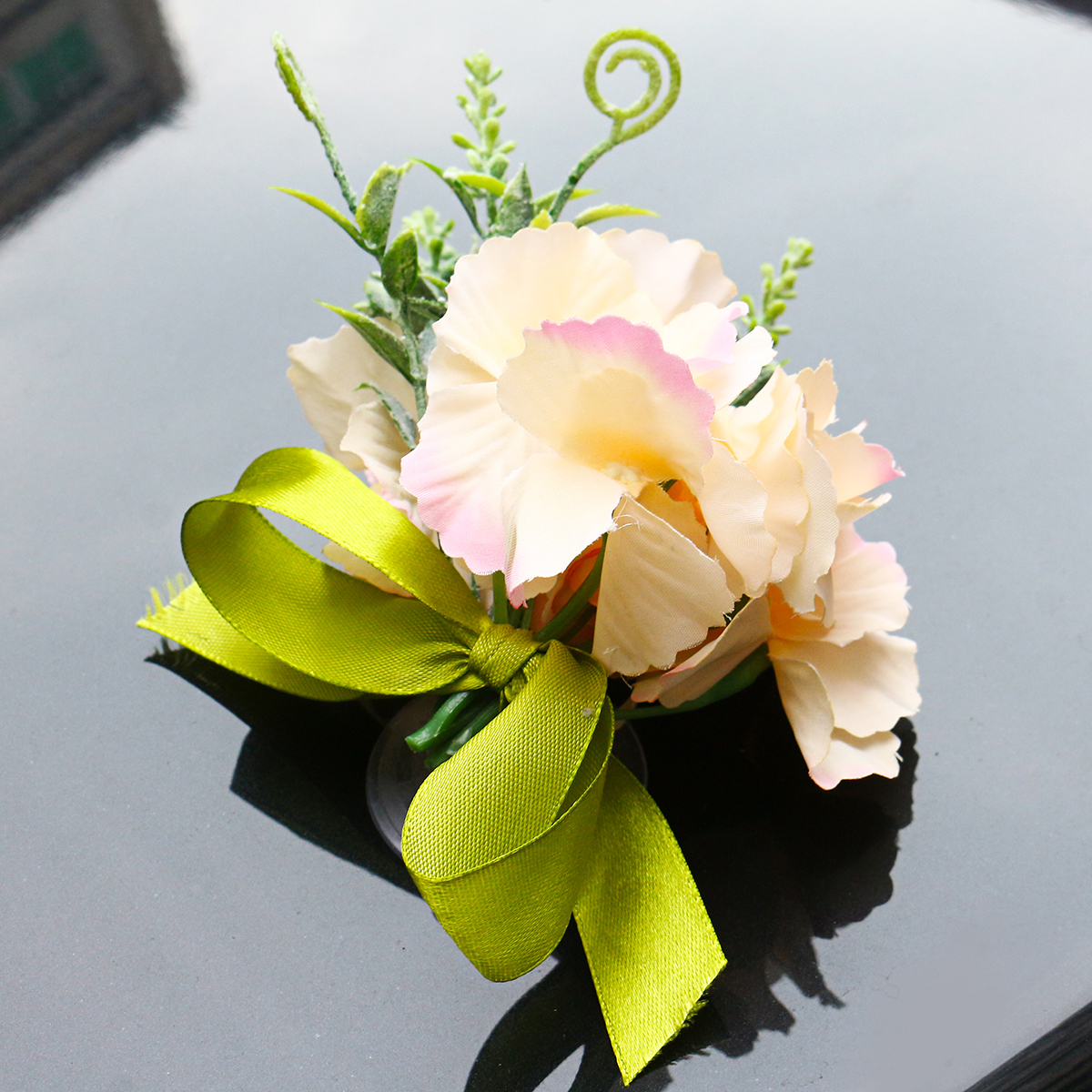 Silk Wedding Car Artificial Flower Bow Ribbon Handles Rearview Mirror Decorations