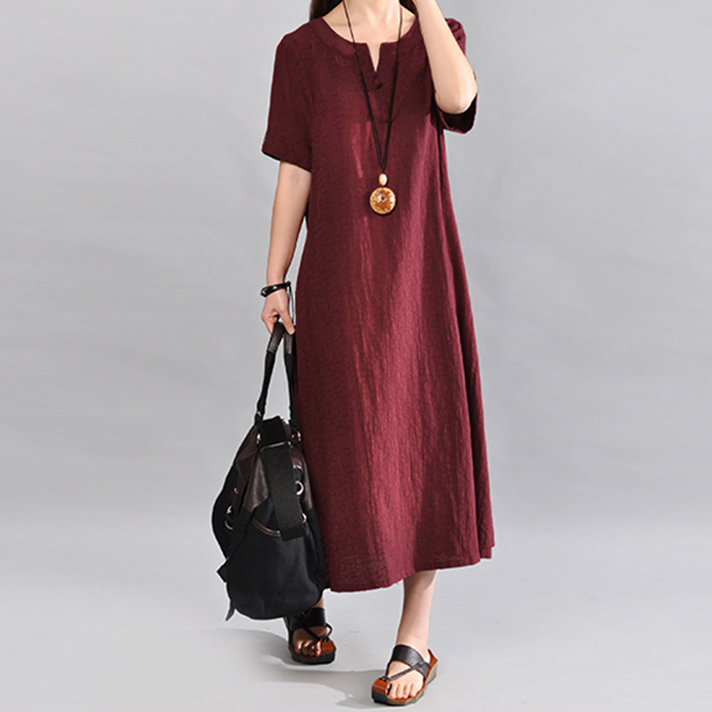 eeac23fb5aa99 Women Vintage V Neck Short Sleeve Cotton Linen Maxi Dress