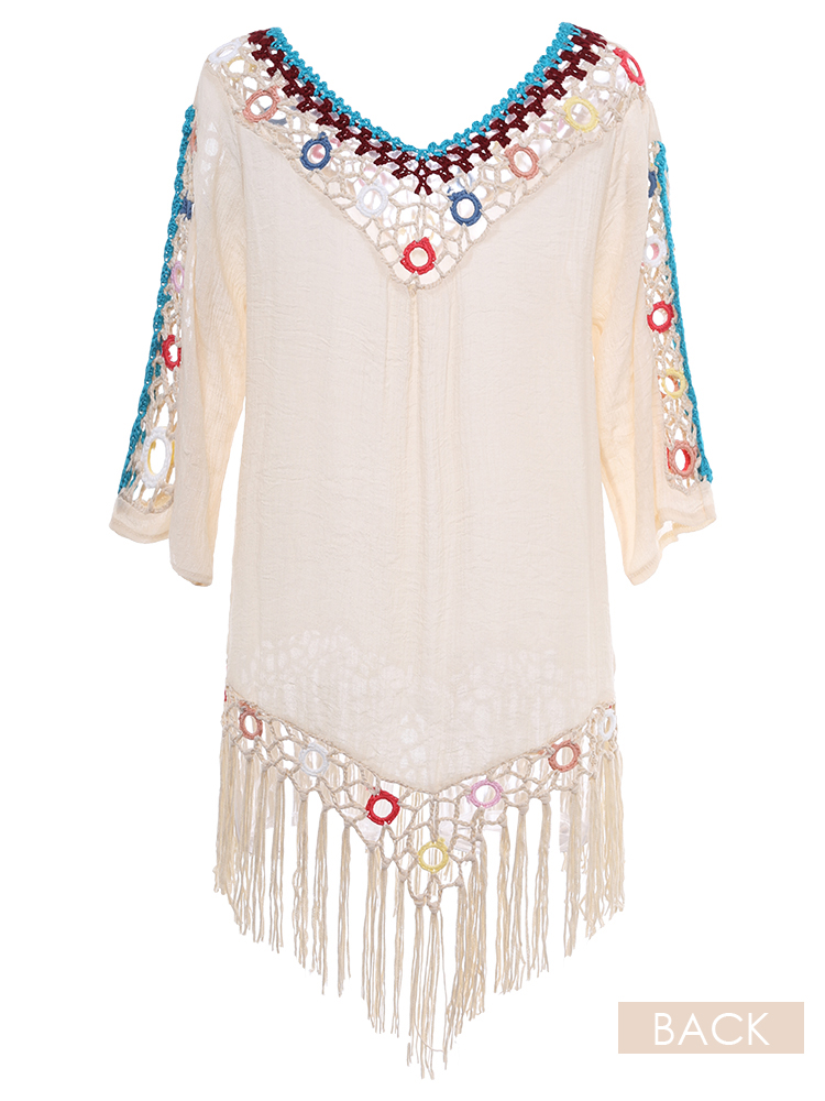 5c70e61ac12 tassel 3d hook flower beach sun protection cover-ups at Banggood