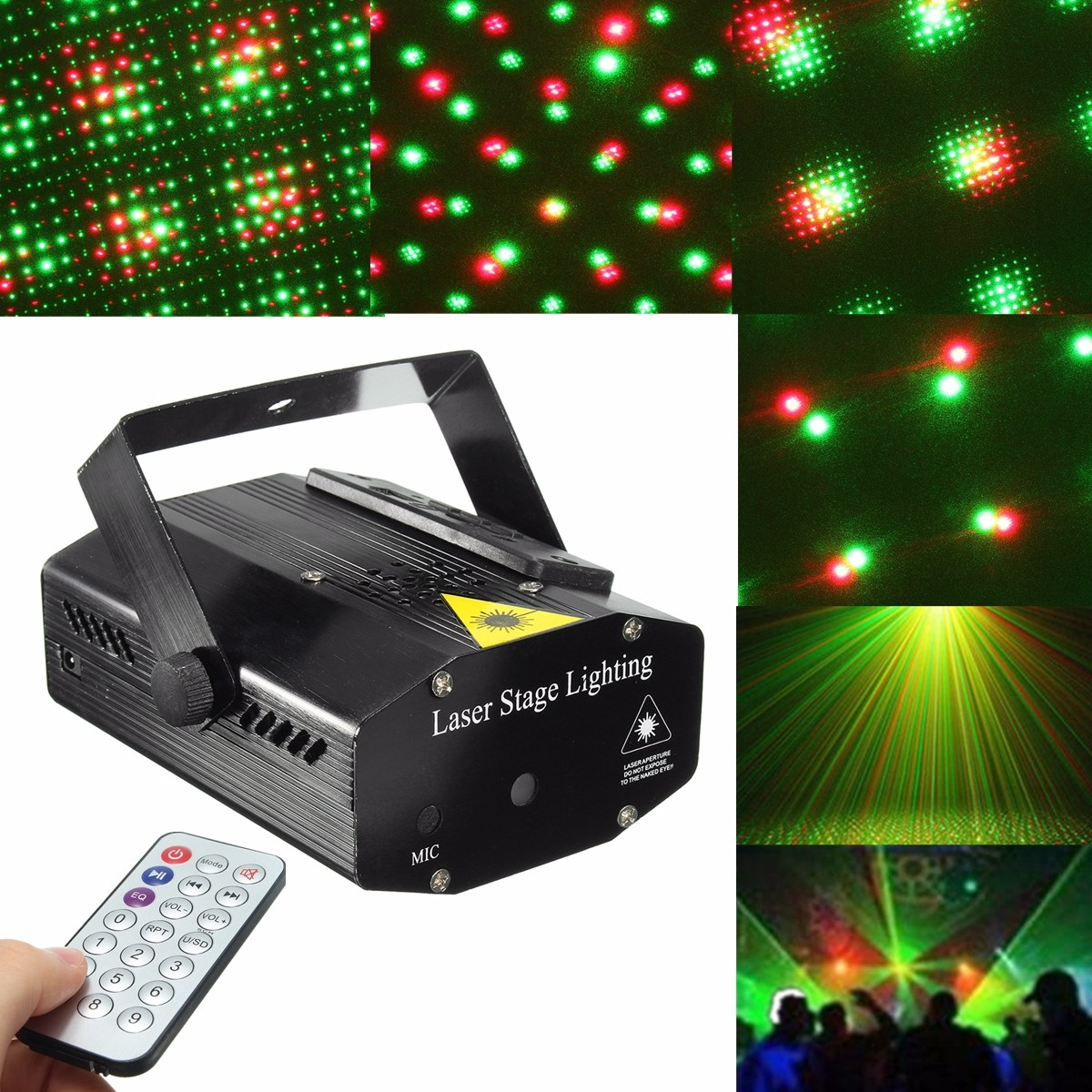 Mini LED R&G Laser Projector Stage Light Xmas Party KTV DJ Disco Light + U Disk