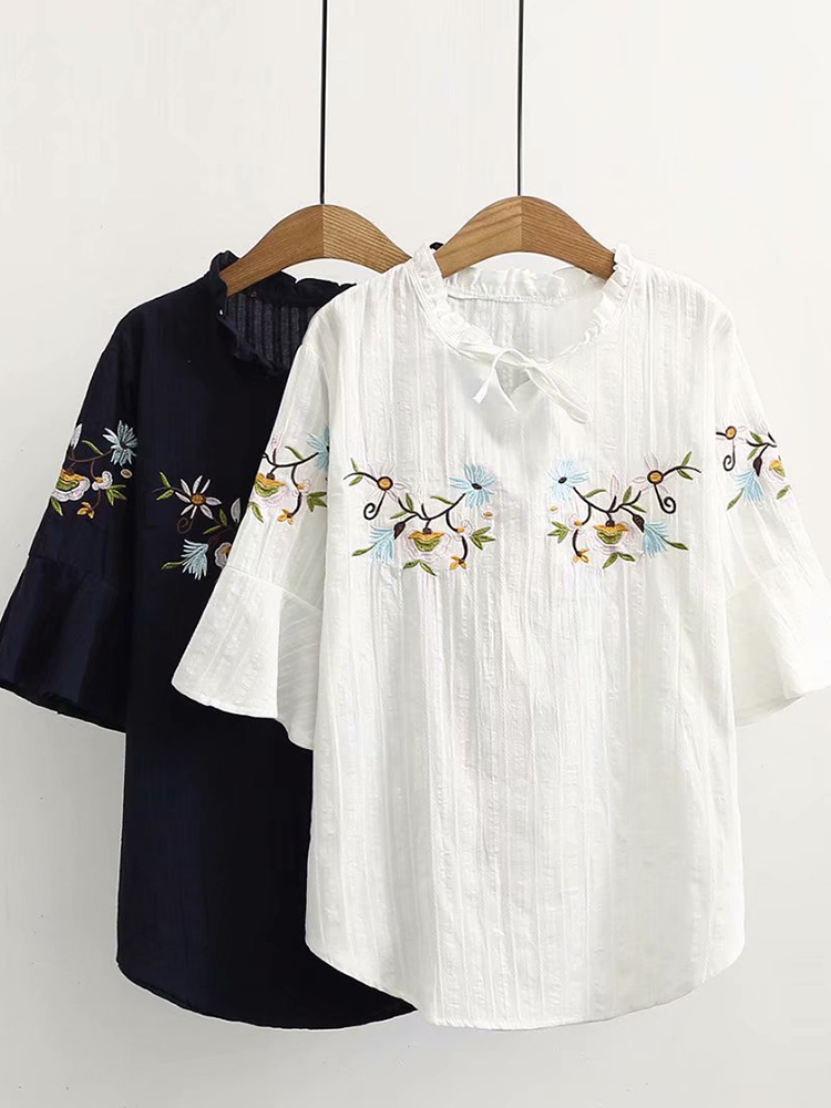 Women Fashion Embroidery Flare Sleeves Blouse