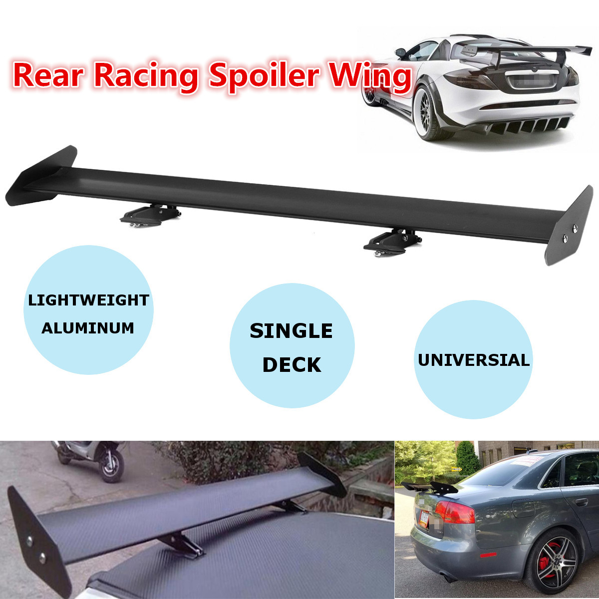 Universal Lightweight Aluminum Adjustable Trunk GT Style Rear Trunk Car Spoiler Wing Black