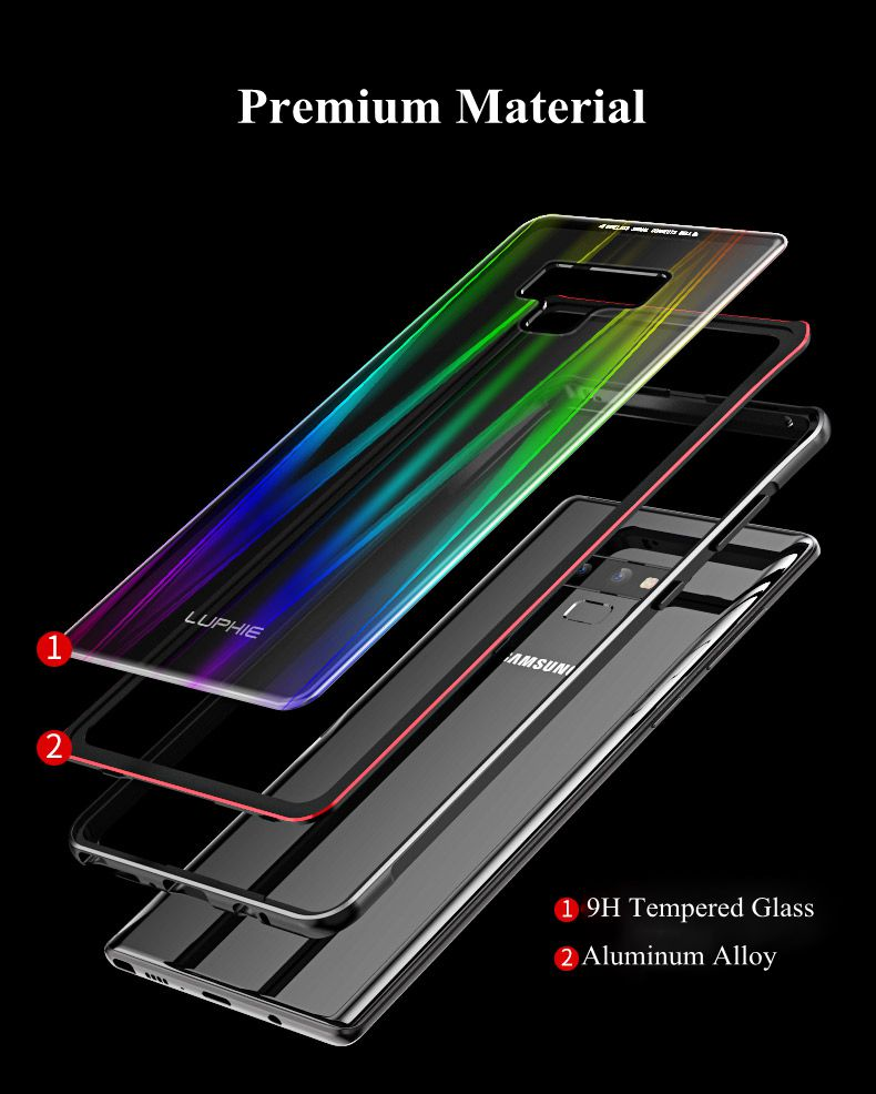 Luphie Gradient Magnetic Adsorption Aluminum Tempered Glass Protective Case For Samsung Galaxy Note 9