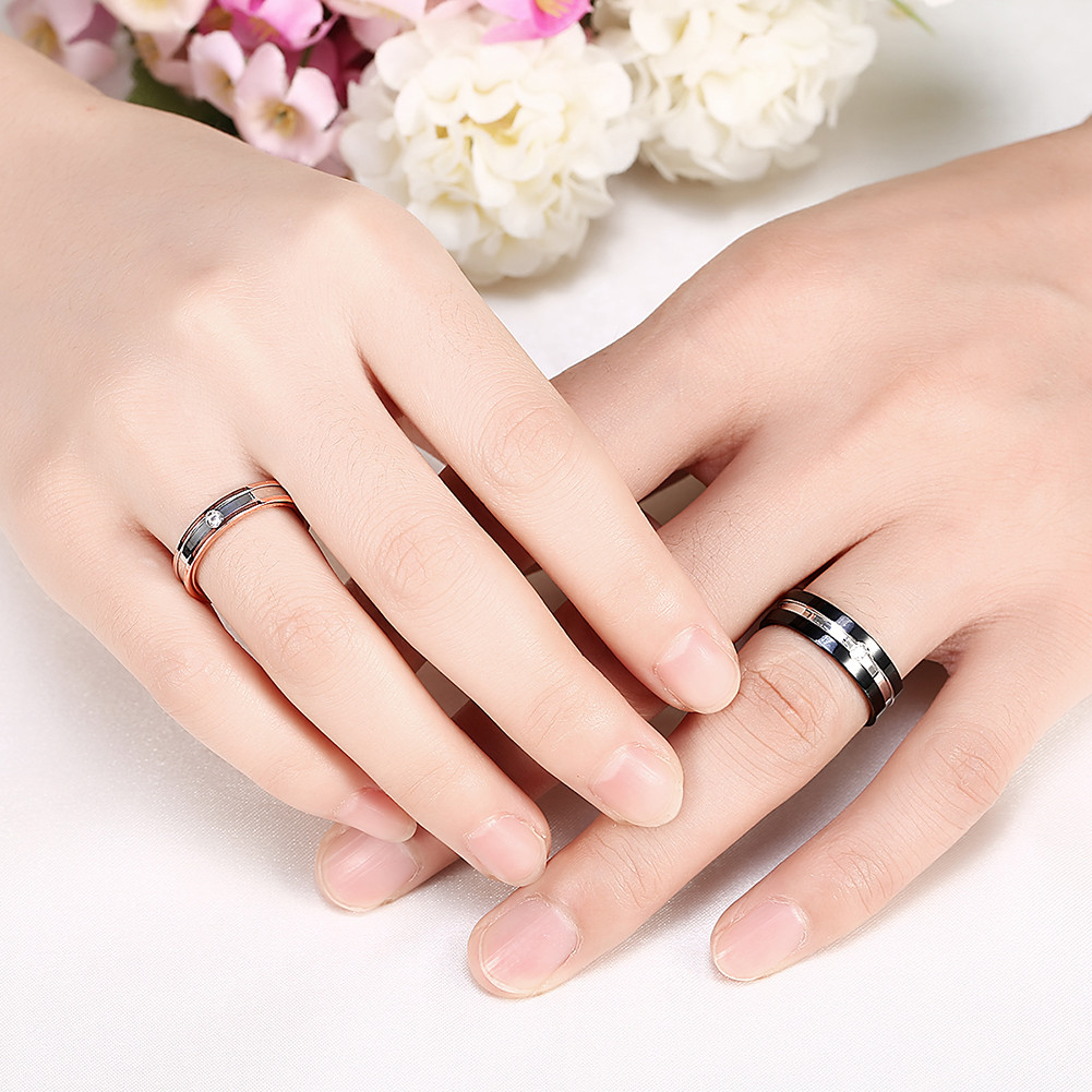 Zircon Crystal Women Mem Couple Gift Ring Stainless Steel Unique Jewelry For Wedding