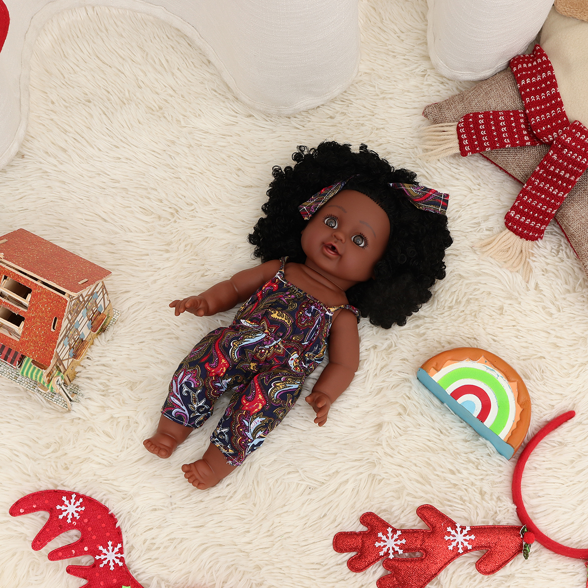 12Inch Soft Silicone Vinyl PVC Black Baby Fashion Play Doll Rotate 360° African Girl Perfect Reborn Doll Toy for Birthday Gift - Photo: 10