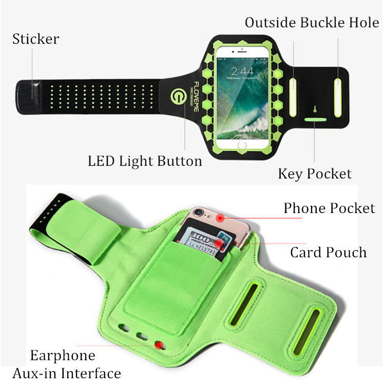 FLOVEME 5.5 inch LED Flash Running Adjustable Waterproof Touch Screen Arm Bag Armband for iPhone