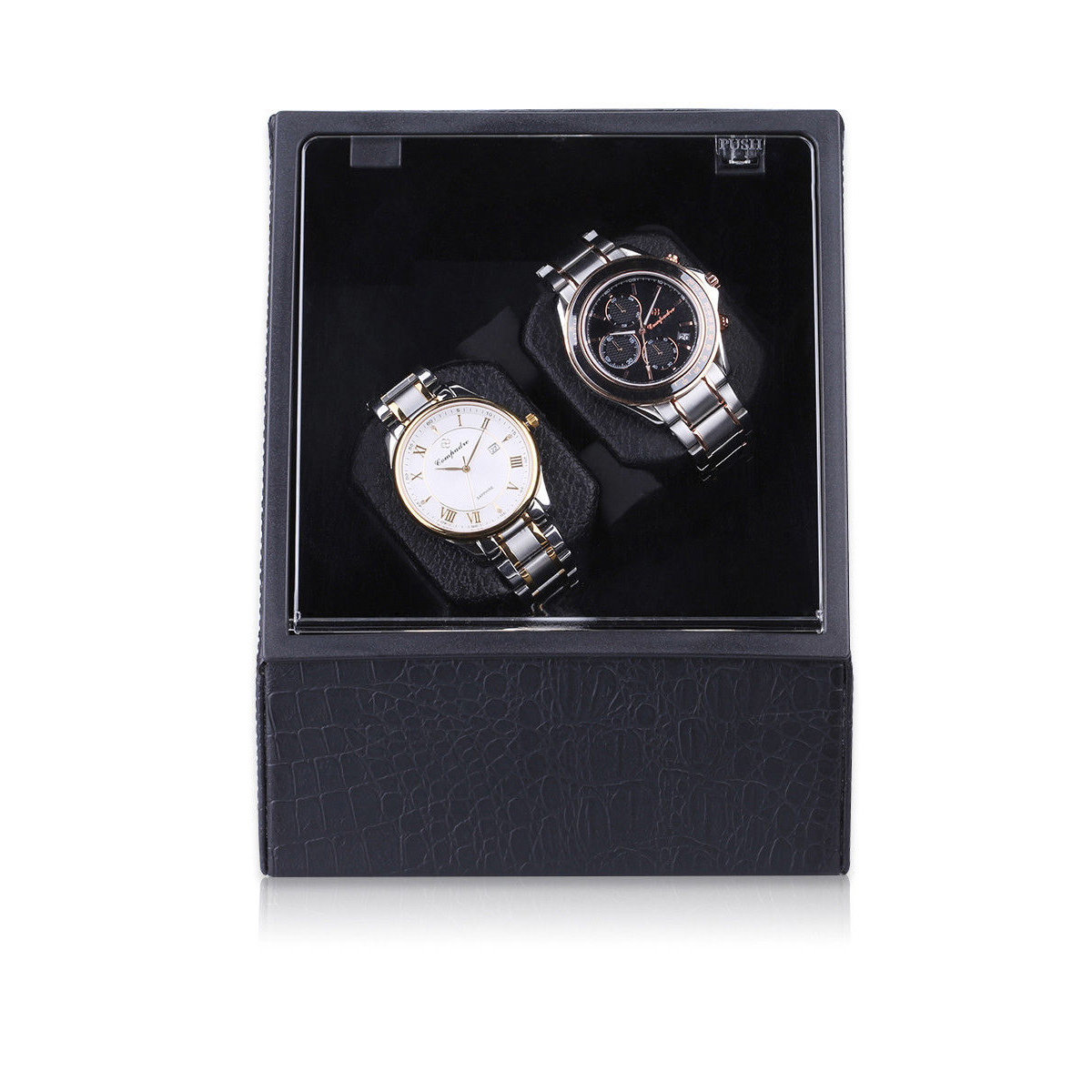 Automatic Watch Winder Carbon Fiber Leather Display Case Power Watch Tool with Quiet Motor Storage