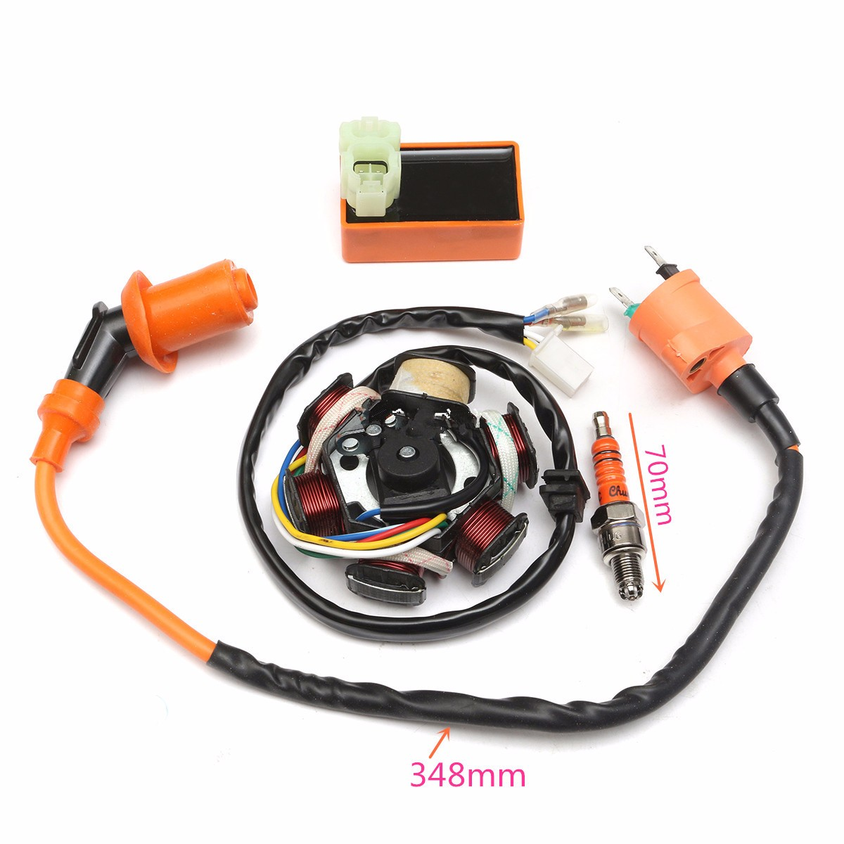 49cc 50cc GY6 Scooter Racing Ignition Coil CDI Spark Plug Moped Magneto Stator