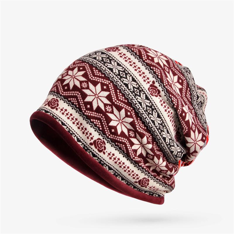 Women Snowflake Print Multi-purpose Beanie Hats Scraf
