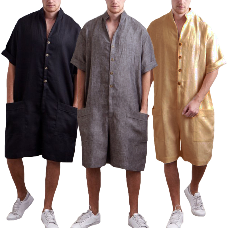 Mens Cotton Short Sleeve Loose Rompers Overalls Jumpsuit