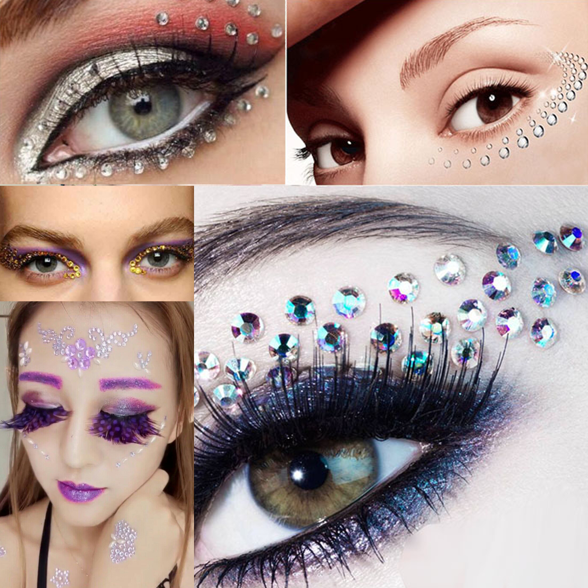 Halloween Cosplay Jewelry Eyes Makeup Crystal Eyes Sticker Tattoo Diamond Glitter Makeup Sticker