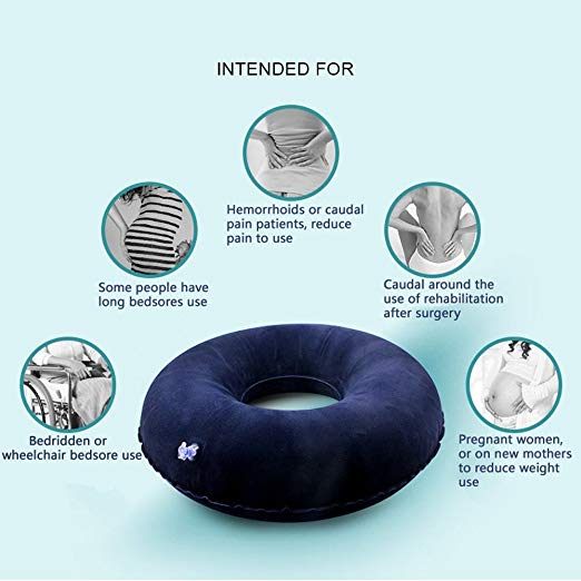 Yuwell Inflatable Seat Cushion Medical Foldable Ring Pillow