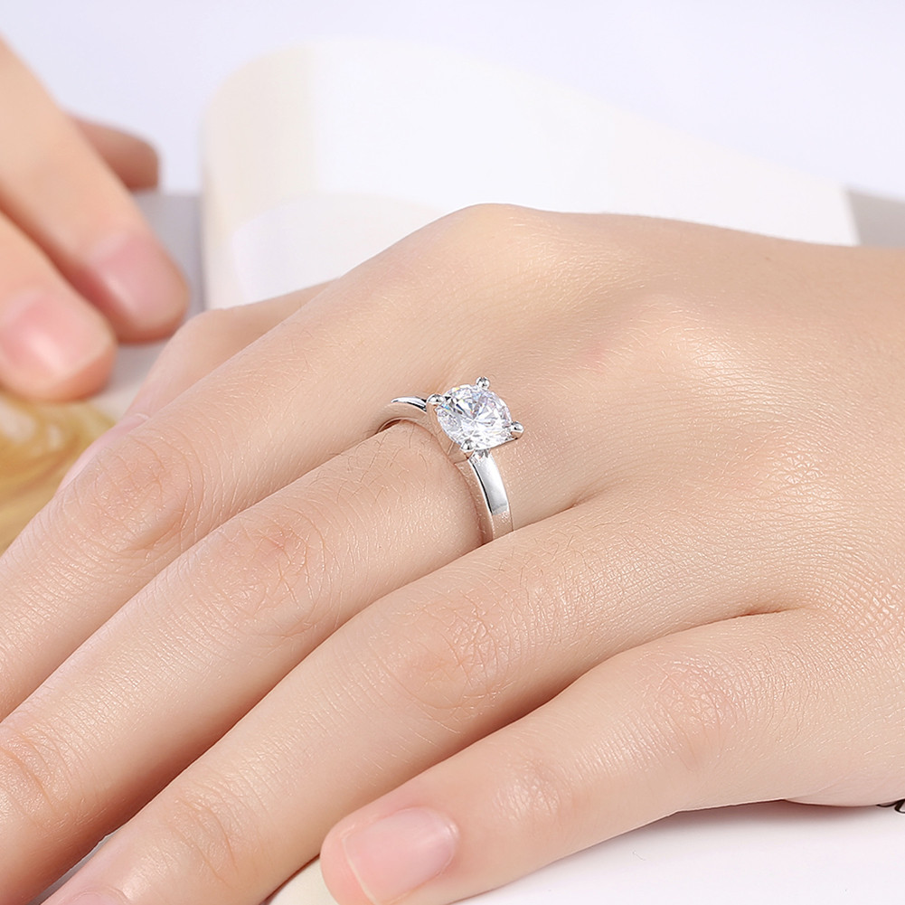 INALIS Zircon Platinum Plated Engagement Wedding Rings