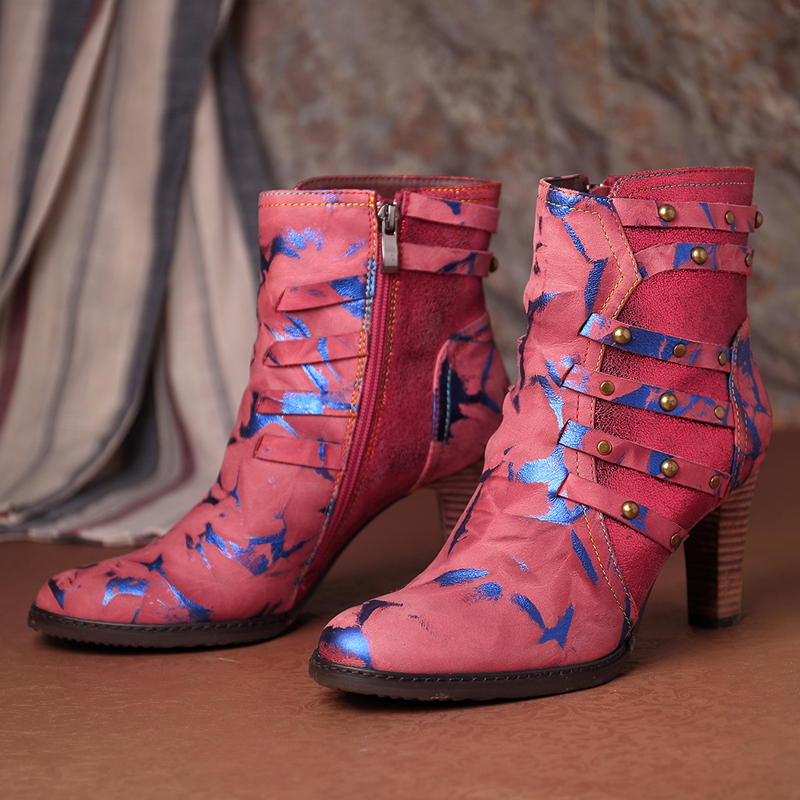 SOCOFY Stitching Rivet Leather Zipper Boots
