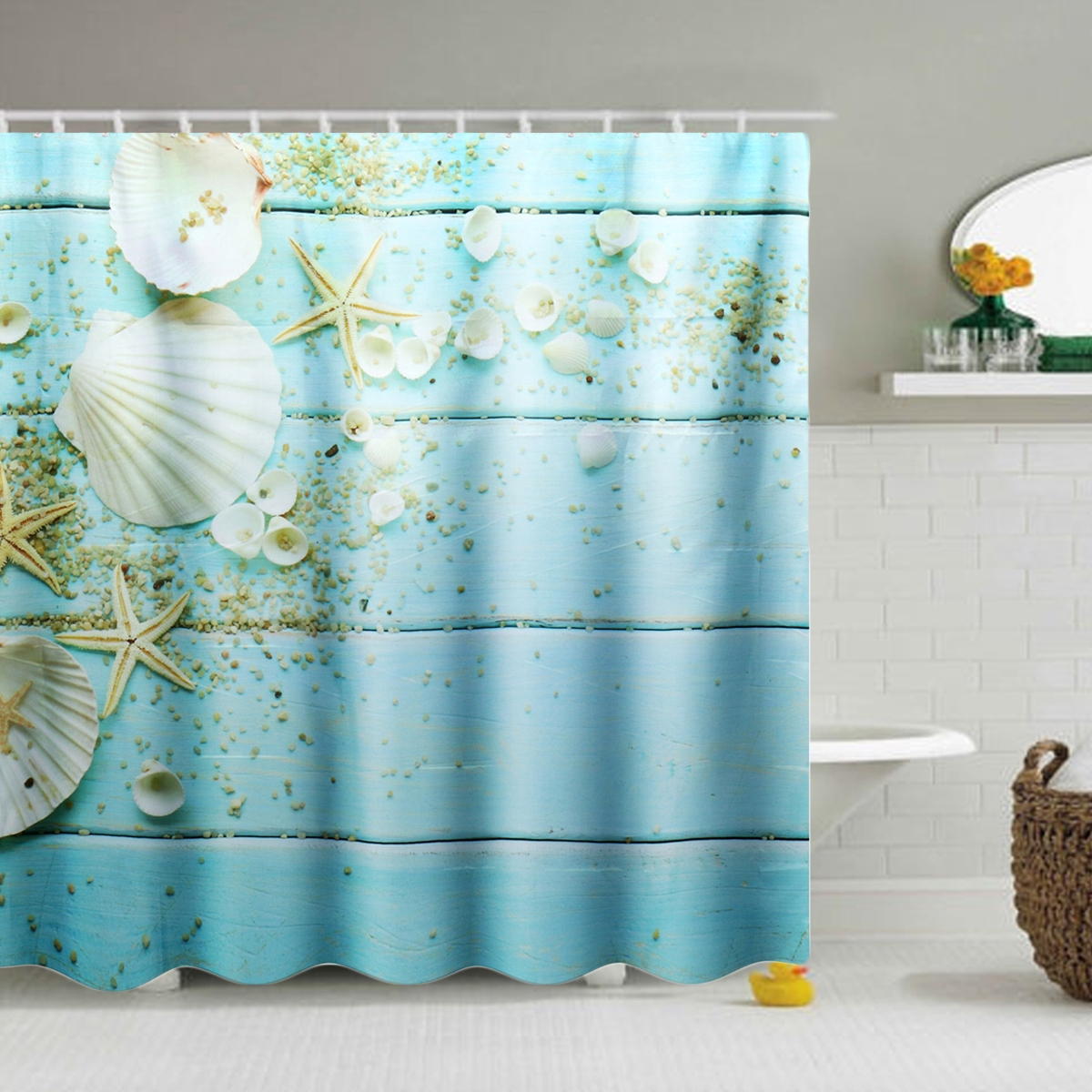 Waterproof Polyester Shells Starfish Sand Bathroom Bath Shower Curtains With 12 Hooks