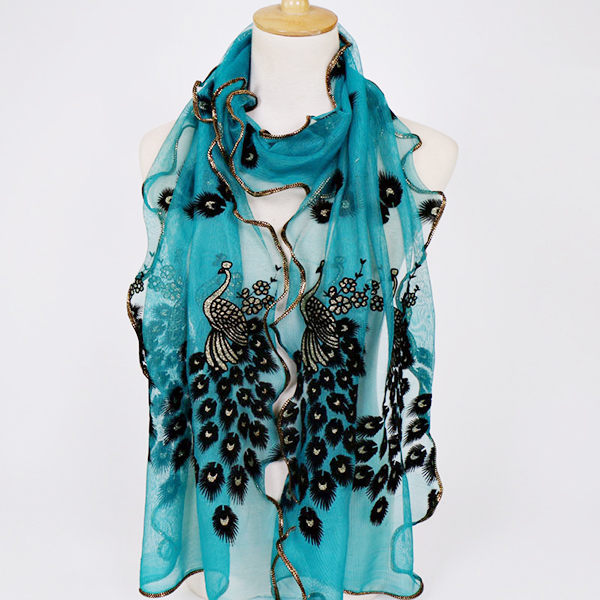190CM Women Peacock Pattern Lace Scarves Shawl Casual Travel Soft Scarf