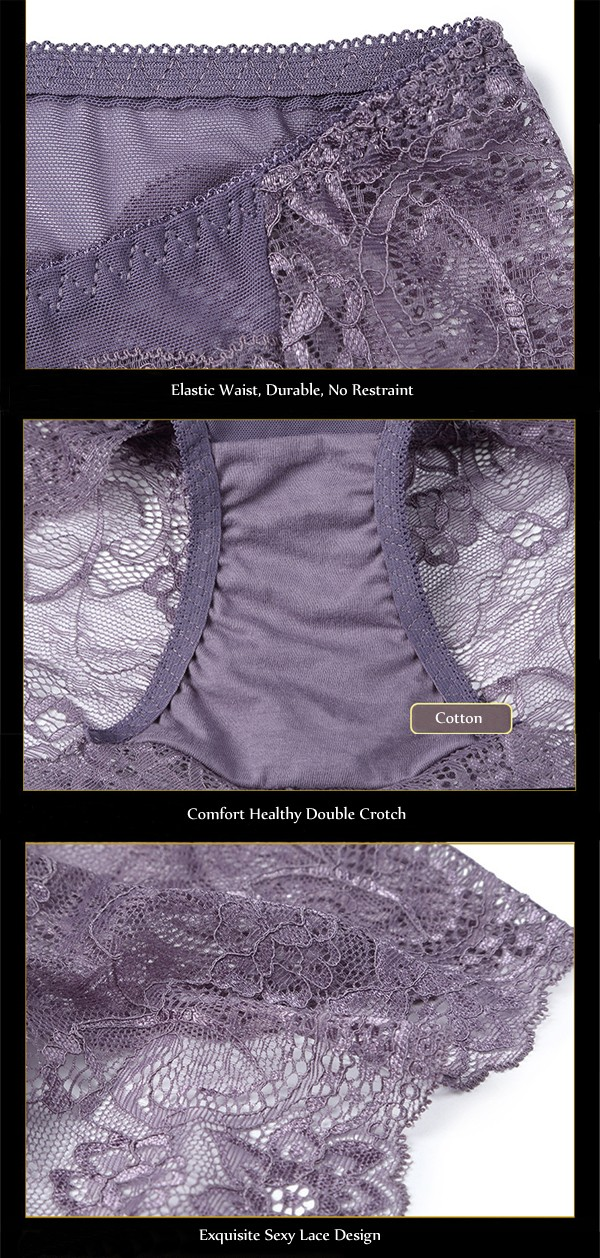 Women Sexy Perspective Lace Front Pocket Underwear High Waist Hips Up Breathable Panties Briefs