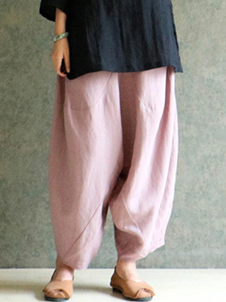 Chinese Style Women Elastic Waist Loose Harem Pants