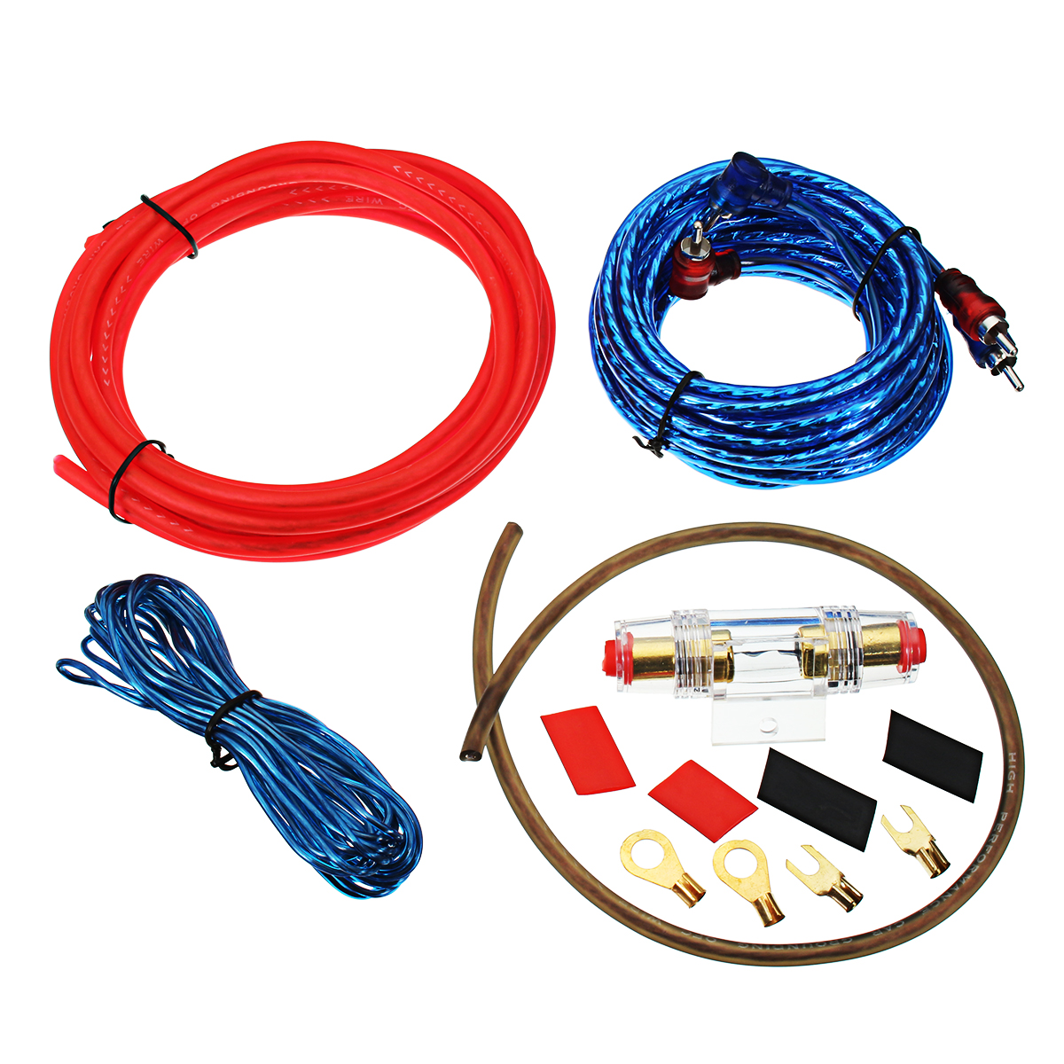 1500W 10GA Car Audio Subwoofer Amplifier AMP Wiring Fuse Holder Wire Cable Kit