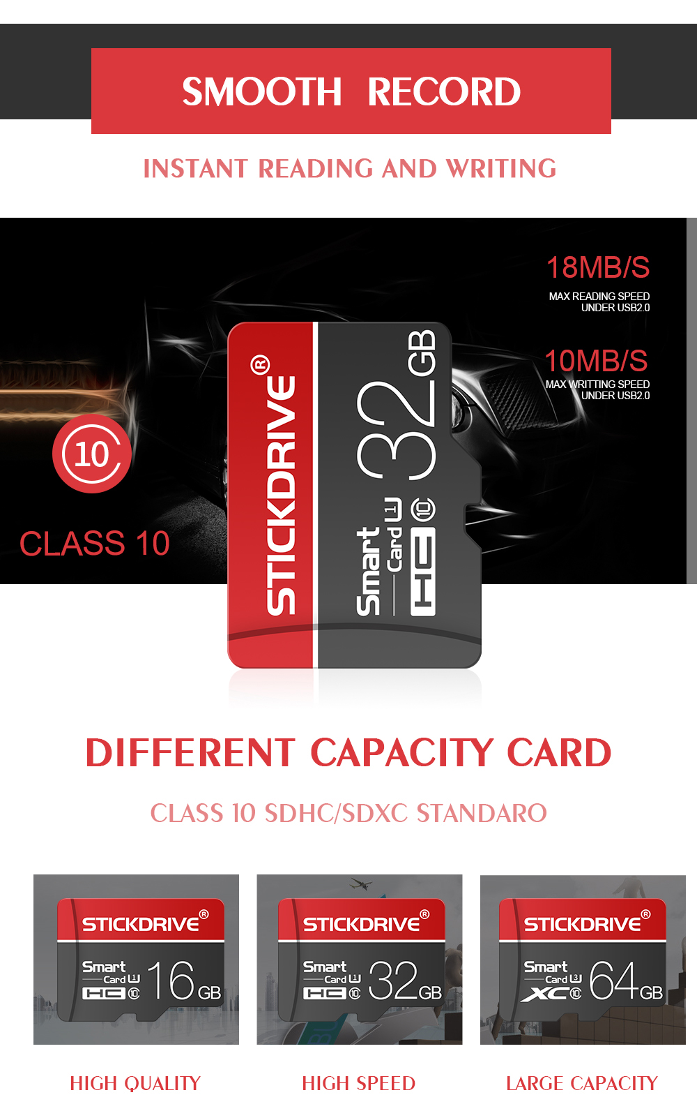 Bakeey StickDrive 8GB 16GB 32GB 64GB 128GB Class 10 High Speed TF Memory Card With Card Adapter For Mobile Phone iPhone Samsung Huawei Xiaomi