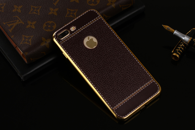 Bakeey™ Litchi Grain Plating TPU Silicone Ultra Thin Shockproof Cover Case for iPhone 7Plus 5.5 Inch