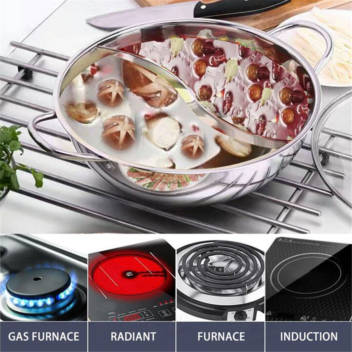 38cm Thick Stainless Steel Hot Pot Two-Flavors Induction Cooker Kitchen Cookware