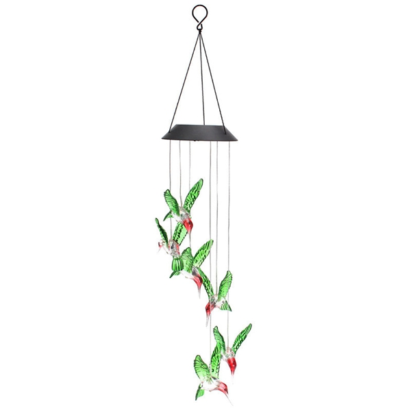LED Solar Pendant Light Lamp Hummingbird Wind Chime Mobile Home Garden Yard Decor White Xmas