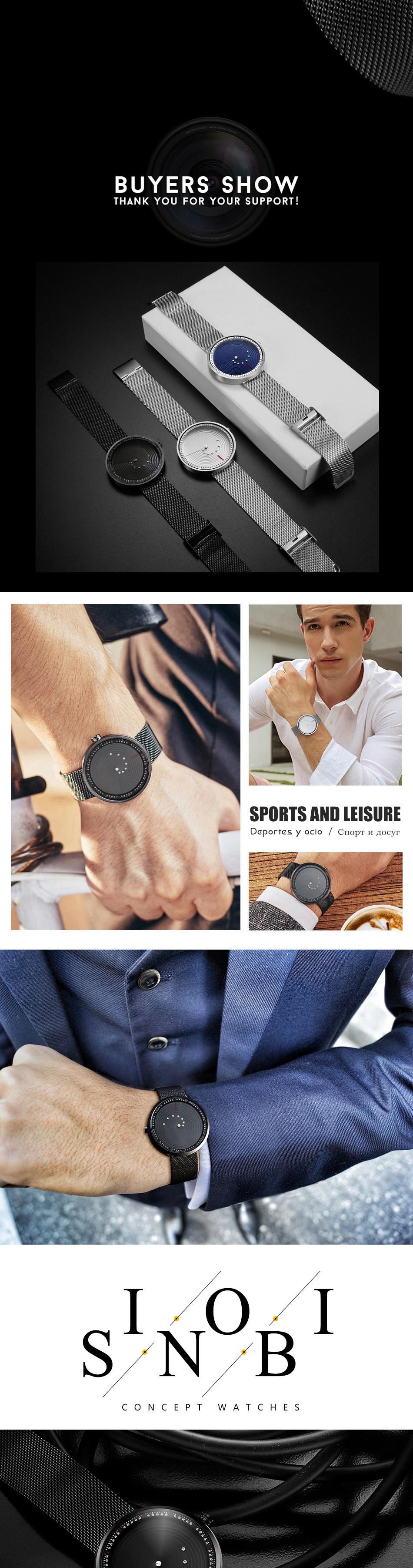SINOBI 9768 Ultrathin Space-time Quartz Creative Watches