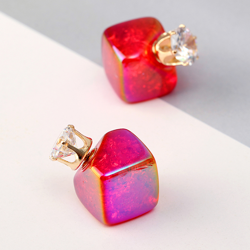 Zircon Crystal Ear Stud Diamond Smooth Earrings