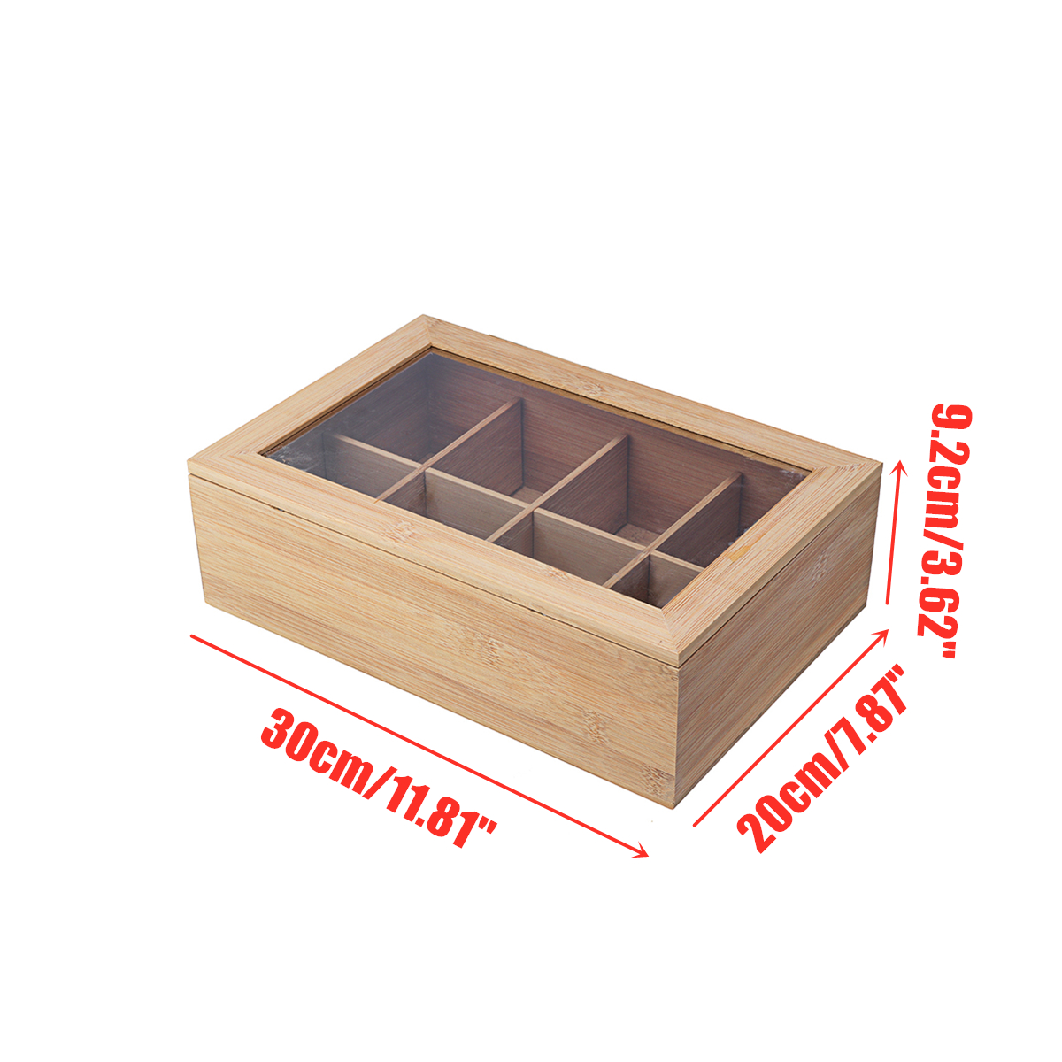 8 Compartments Wooden Tea Box Glass Top Lid Cover Container Teabags Display Storage Gift