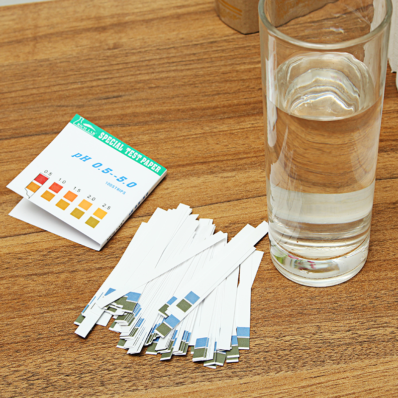 Precision PH Test Strips Short Range 0.5-5.0 Indicator Paper Tester 100 Strips Boxed w/ Color Chart