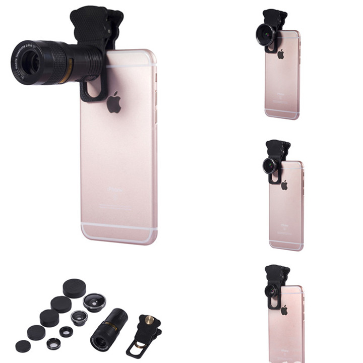 Universal 9X Telephoto Camera 0.4X Large Wide Angle 180º Fisheye Macro Lens with Clip for Cell Phone
