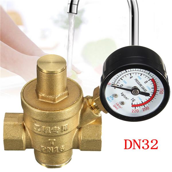 DN32 1.2 Inch Brass Water Pressure Regulator Valve with Gauge Pressure Water Pressure Reducing Valve