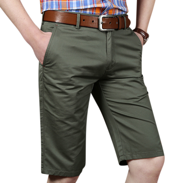 Summer Cotton Casual Business Shorts Fashion Men's Knee Length Straight Shorts