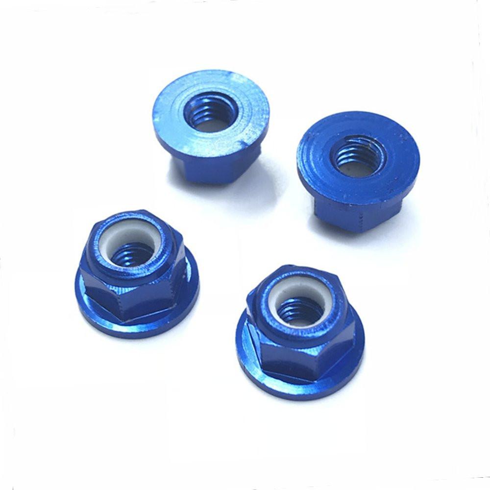 4PCS HSP 94101 94102 94105 1/10 Rc Car Upgrade Parts 102049 02055 Aluminum Alloy M4 Nylon Locknut