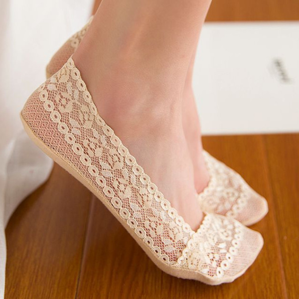 Women Summer Thin Breathable Lace Boat Socks Anti-slip Invisible Low Cut Boat Socks