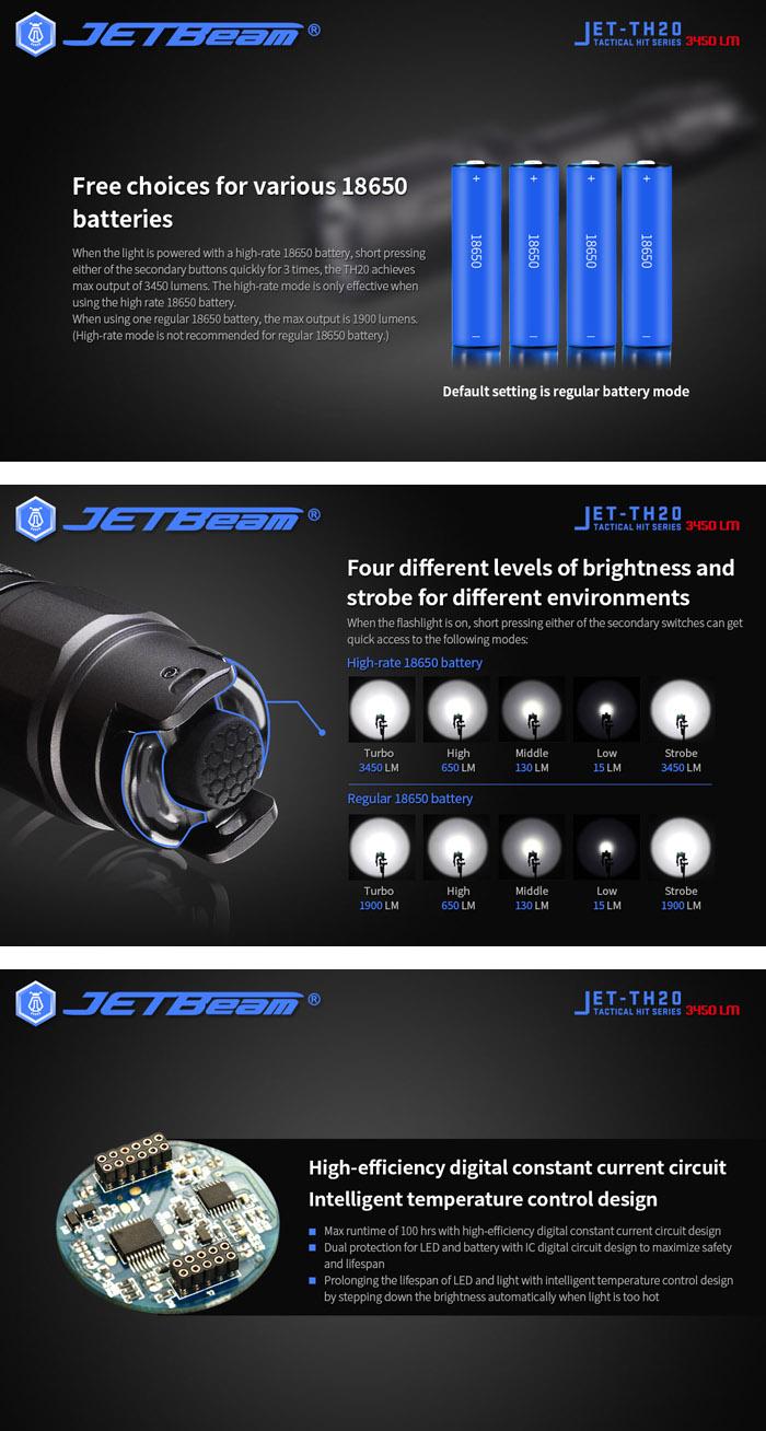 JETbeam TH20 XHP70.2 3450Lumens High Performance Tactical Flashlight