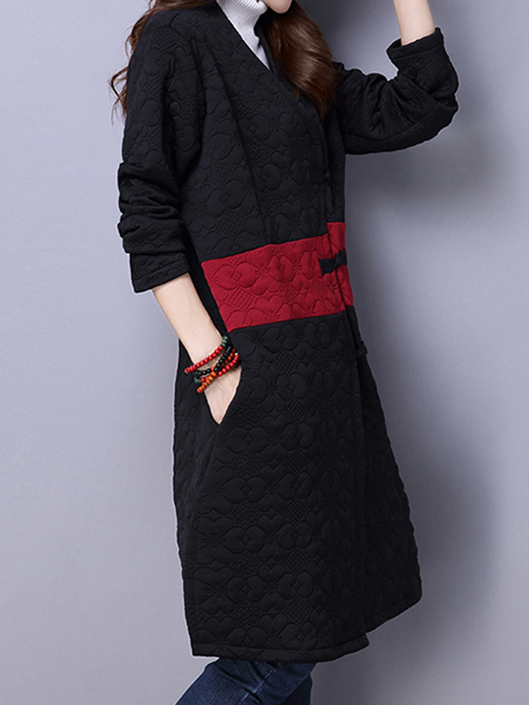 Vintage Button Patchwork Long Sleeve Chinese Style Loose Coat