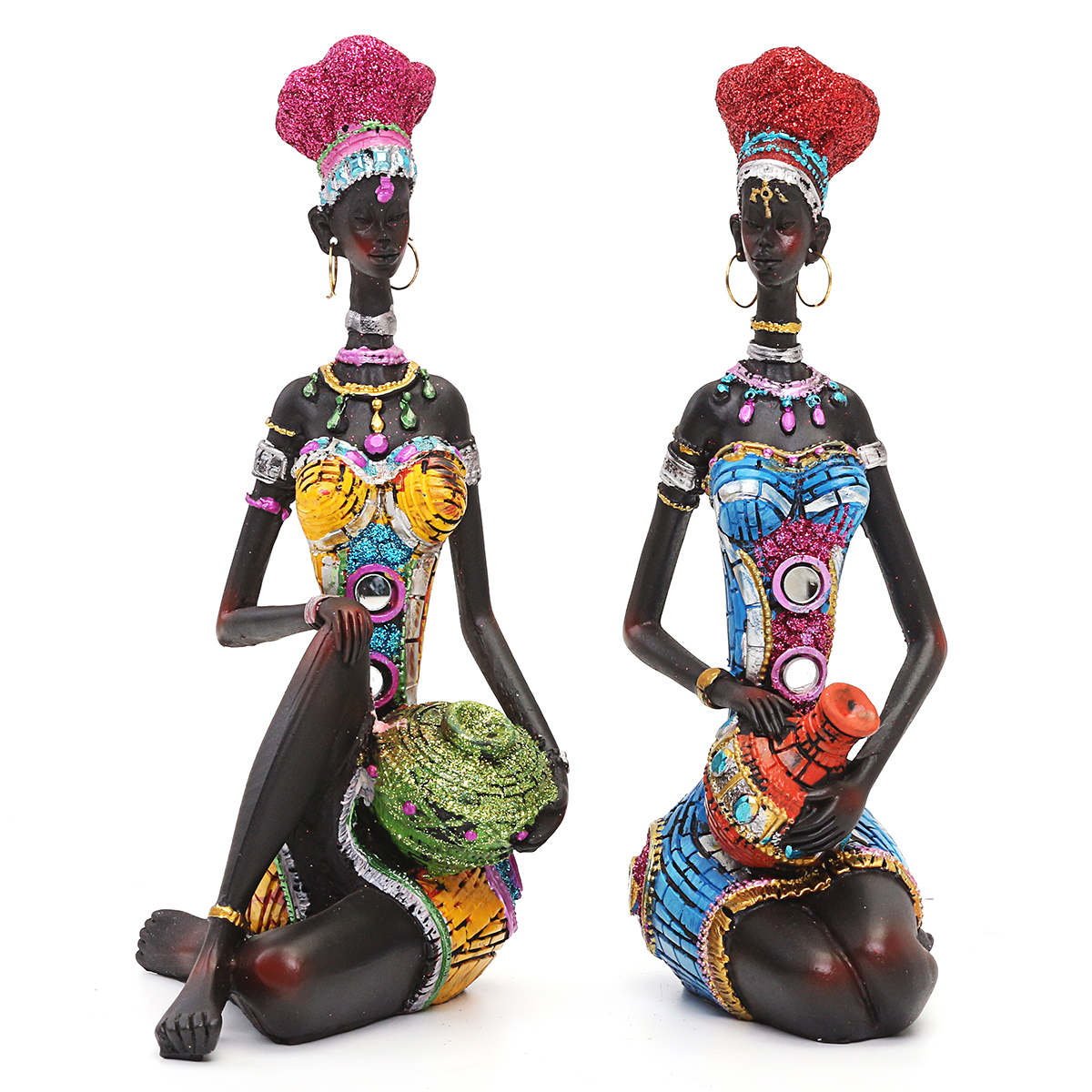 Resin Figurine Craft African Women Beauty Lady Statue Decorative Home Hardware