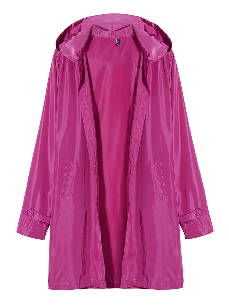 Repellent Fashion Hooded Windproof Clothing Long Windbreaker Jackets