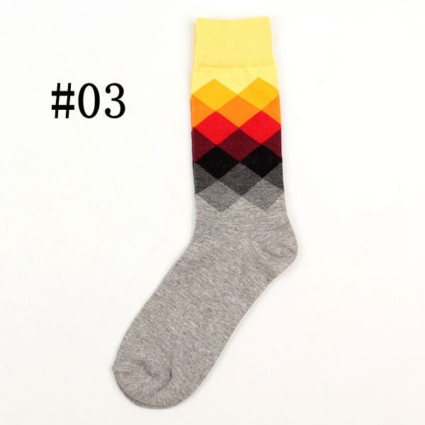 British Style Multicolor Socks Casual Men Cotton Long Cylinder Rhombus Socks