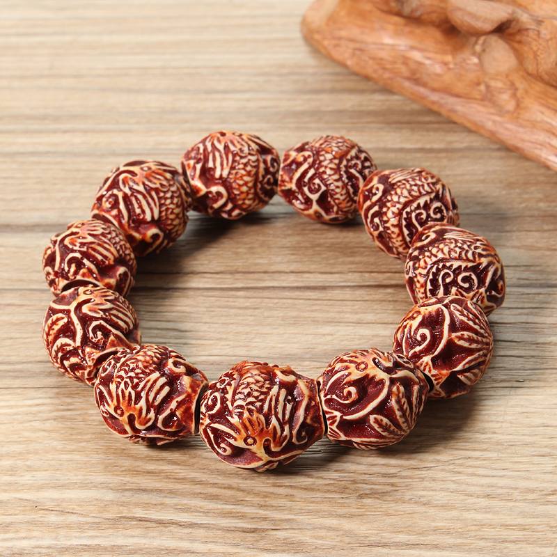 Ethnic Resin Lucky Buddha Beads Elastic Bracelet for Men Women