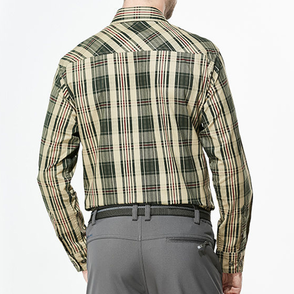 Mens Outdoor Casual Checked Cotton Washed Loose Cargo Work Shirt Long Sleeve