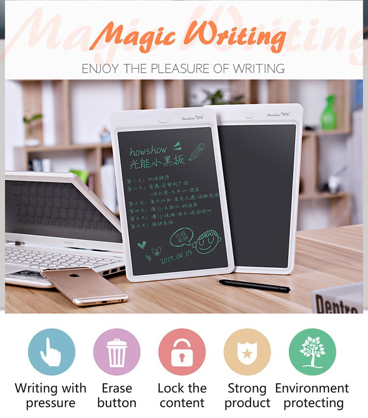 Howshow 10'' LCD Writing Tablet Digital Handwriting Drawing Board With Stylus Pen Office School Use